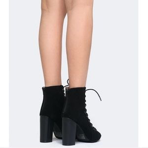H&M Shoes - Divided Black Lace Up Block Heel Peep Toe Booties